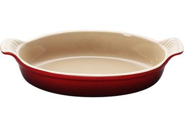 Imagen de Fuente ovalada de gres de 36 cm color cereza