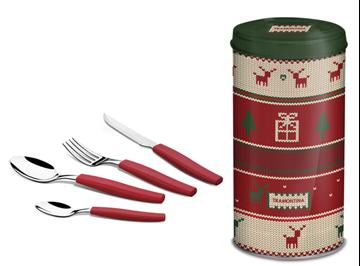Imagen de Juego de cubiertos de Navidad 24 piezas en color rojo