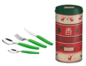 Imagen de Juego de cubiertos de Navidad 24 piezas color verde