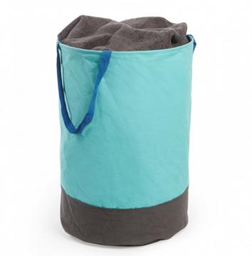 Imagen de Bolsa de tela redonda azul surf / gris CRUNCH