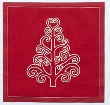Imagen de Rollo de 20 servilletas 20 x 20 Navidad árbol rojo