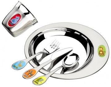 Imagen de Juego para niños de plato, cubiertos y vaso ZOO