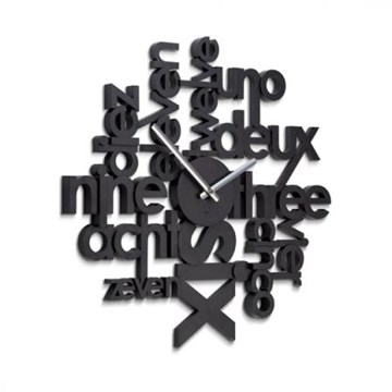 Imagen de Reloj de pared negro LINGUA