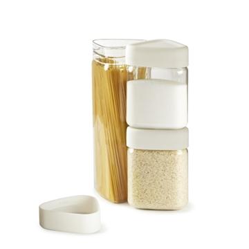 Imagen de Set de potes con tapa medidora modelo TRICON, color blanco