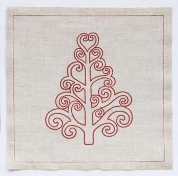 Imagen de Rollo de 20 servilletas 20 x 20 lino Navidad árbol